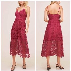 NWT ASTR The Label Lace Midi Dress Berry Size L